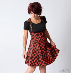 Floral Red Black Skirt  Suspender skirt  High waisted by Malam