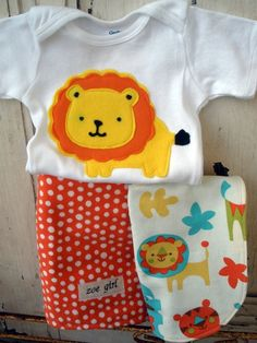 Baby Set - Baby Bib, Burp Cloth and Bodysuit with Lions