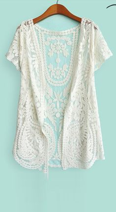 crochet lace short sleeved cardigan $25