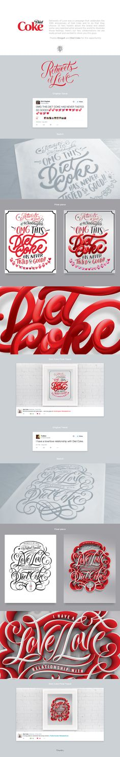Lettering designs for the Retweets of Love campaign of Diet Coke 33th Anniversary