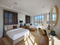 The guest bedroom. Bedroom Retreat, Cozy Bedroom, Guest Bedrooms, Guest Room, Home Office, Downtown New York, Expensive Houses, Luxury Homes, Building