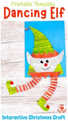 DANCING ELF CRAFT - Here's an adorable interactive Christmas Elf Craft kids will love to make and play with. These paper elves are so fun and easy to make with the printable template. They have concertina legs that move when you wiggle the backing paper so it looks like they're dancing! Such a fun Christmas craft for kids. #kidscraftroom #kidscrafts #elf #elfcrafts #elves #christmascrafts #newspapercrafts #ChristmasinJuly Newspaper Crafts, Paper Crafts For Kids, Craft Activities For Kids, Craft Kids, Crafts To Make, Fun Crafts, Activity Ideas, Preschool Ideas, Preschool Christmas