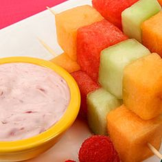 Fruit Kabobs with Creamy Berry Dip- nice dessert apps for either pre-wedding or post-wedding events!