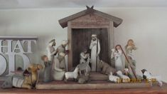 This is a handmade creche / manger / stable for displaying your Willow Tree Nativity Set made from old weathered barn wood. There is also a