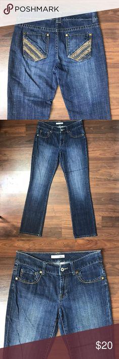 "Chico's Platinum Dark Faded Straight Leg Jeans 0 Chicos Platinum Embellished Dark Wash Factory Faded Straight Leg Jeans. SZ 0 US 4. Great Condition! 31"" Waist, 31"" Inseam, 8"" rise. Chico's Jeans Straight Leg"