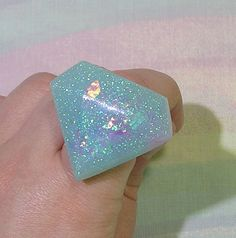 Fairy Kei Ring Pastel Goth Ring Glitter by StarlightSparkles