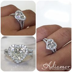 Red carpet ready, this split shank engagement ring setting is stunning! Our R3068 has over 100 diamonds that are French pave set and frame any heart shape diamond that you select. #adiamor #heartcut #diamond #engagementring