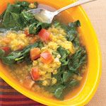 30-Minute Heart-Healthy Meal from @FITNESS Magazine - Easy Lemon Lentil Soup with Spinach