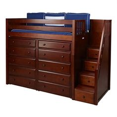 The Stuart High Loft Bed with Storage and Staircase is a fun and functional loft for your child!