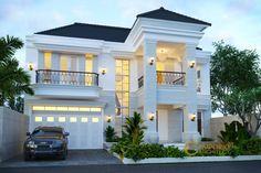 Desain Rumah Ibu Ayu @ Pantai Saba, Gianyar by Emporio Architect Classic House Exterior, Modern Exterior House Designs, Classic House Design, Dream House Exterior, Modern House Design, Exterior Design, Villa Design, Floor Design, House Outside Design
