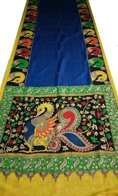 Shop more Chennur Silk Saree at Luxurionworld. Saree Painting, Kalamkari Painting, Peacock Painting, Fabric Painting, Kalamkari Fabric, Kalamkari Saree, Silk Sarees, Sketch Painting, Mural Painting