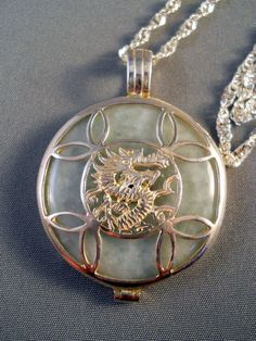 Chinese Sterling Jade Dragon Pendant Necklace from Suzy's Timeless Treasures