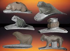 Six animal effigy Hopewell platform pipes, mound City. Hopewell Culture, Flint Knapping, Indian Artifacts, Frog And Toad, Effigy, Animal Faces, Sioux, Stone Carving, Ancient History