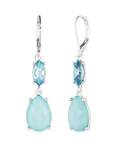 Nine West Silver-tone and Blue Double Drop Lever-Back Earrings
