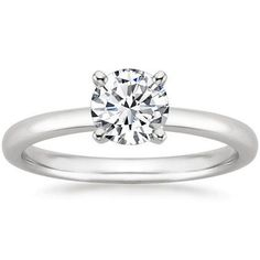 1/2 Carat Round Brilliant Cut / Shape 14K White Gold Solitaire Diamond Engagement Ring 4 Prong (I-J Color , I1-I2, 0.50 cts)