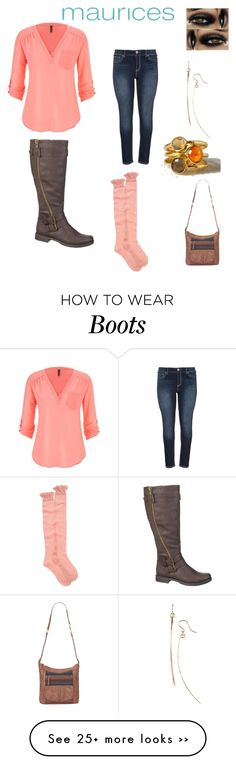 """""""The perfect blouse maurices contest entry : Maurices coral blouse, maurices jeans and bag,maurices knee boot with coral boot socks,3 stack rings,gold bar earrings and eye makeup"""" by im-karla-with-a-k on Polyvore featuring maurices and IJA"""