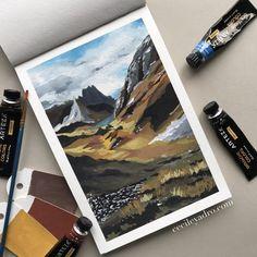 Watercolor Landscape, Landscape Paintings, Watercolor Paintings, Watercolour, Gouche Painting, Cecile, Beginner Painting, Aesthetic Art, Artist Art