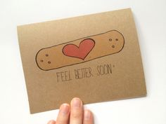 Feel Better Soon Band-aid Heart - Recycled Get Well Card, Hand Drawn Card. $4.00, via Etsy.