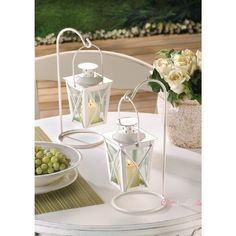SET/10 Iron & Glass White Railroad Candle Lanterns 20 PIECES WEDDING Centerpiece #Unbranded