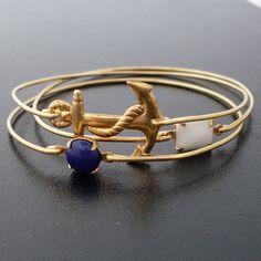 Nautical Bracelet Set, Sailor Ahoy Nautical Bangle Bracelets, Nautical Jewelry, Gold, White, Navy Blue, Ocean Bracelet, Ocean Themed Jewelry. $37.00, via Etsy.