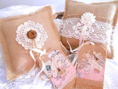 Burlap and lace ring bearer pillows