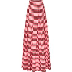 MDS Stripes     Inverted Pleat Ball Skirt (€655) ❤ liked on Polyvore featuring skirts, stripe, long pleated skirt, red pleated skirt, long striped skirt, pleated maxi skirt and striped maxi skirts
