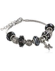 """Charmed Feelings Murano Style Glass Beads and Charm Bracelet, 7.25"""" + 1.5"""" Extender - $19.99 www.jewelryandwatches.co.za"""