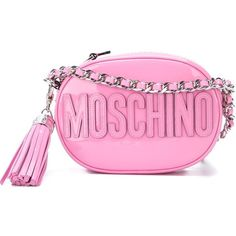 Moschino oval logo crossbody bag ($1,035) ❤ liked on Polyvore featuring bags, handbags, shoulder bags, pink handbags, chain purse, crossbody shoulder bags, pink purse and pink patent leather handbag