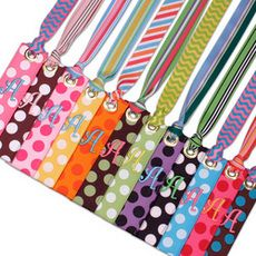 Polka Dot Embroidered Ribbon Bag Tag or Bookmarks