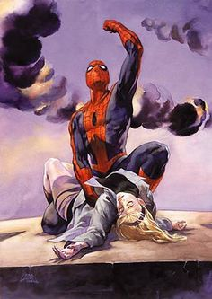 The Death of Gwen Stacy. STORY ARC: One of the biggest shocks in the comic book industry, the death of Gwen Stacy. The Green Goblin kidnaps Gwen and throws her off the Brooklyn Bridge. Spider-Man tries to save her but is unsuccessful. Ms Marvel, Marvel Comics, Heros Comics, Bd Comics, Marvel Art, Marvel Heroes, Marvel Characters, Amazing Spiderman, Art Spiderman