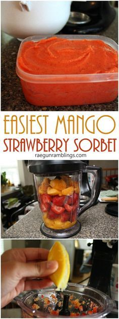 This Mango strawberry sorbet SO good. I've made it the last two weekends. Gr… This Mango strawberry sorbet SO good. I've made it the last two weekends. Great for when you want a healthy alternative to ice cream Brownie Desserts, Ice Cream Desserts, Köstliche Desserts, Frozen Desserts, Healthy Dessert Recipes, Ice Cream Recipes, Frozen Treats, Simple Recipes, Fruit Recipes