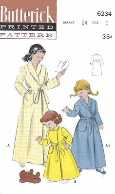 Vintage 1950's Sewing Pattern Girl's Dressing Gown Robe Peter Pan Collar Size 6