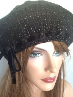Beret Slouch Beanie Hat Designer Fashion  Issac Mizrahi Yarn Black Gold Hip Chic #BeretSlouchBeanieHat #SlouchBeretBeanieHat