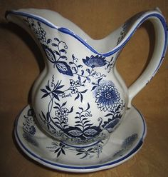 Vintage Enesco Ceramic Porcelain Pitcher Basin Set Blue and White Floral Print | eBay