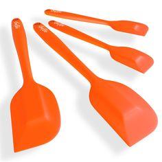ChefStir Silicone Spatula Set of 4 - Heat Resistant Kitchen Spatulas (Orange)