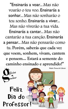 Parabéns a todos os Professores!  #FelizDiaDoProfessor     #OficinaDeSonhos  - Oficina de Sonhos ® - Google+ Peace Love And Understanding, Reading Comprehension Passages, Sweetest Day, Organic Chemistry, Peace And Love, Coaching, Lettering, Humor, Motivation