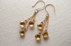 Bear quartz heart briolette dangle earrings