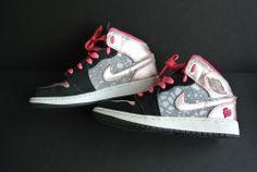 Girls' Air Jordan 1 Phat 2012 Valentines Edition Black/Storm Pink Cherry SIZE 4Y