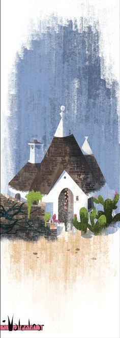 Concept Design of Italian Trulli Cactus, Illustration Art, Italy, Cabin, Concept, House Styles, Painting, Home Decor, Italia