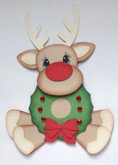 CHRISTMAS REINDEER WITH WREATH PAPER PIECING  MY TEAR BEARS KIRA