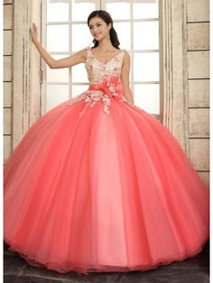 V-Neck A-Line Straps Lace Flowers Lace-up Floor-Length Quinceanera Dress & informal Quinceanera Dresses