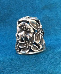 Sterling Silver Filigree Flower Thimble by TheSpinningThimble