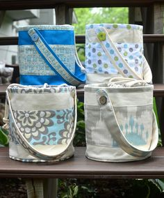 ikat bag: Lunch Buckets In The Shop! - pattern will post soon.  Love the fabric choices!