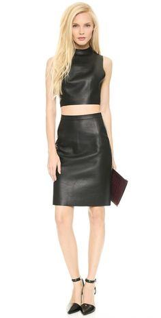 Alexander Wang Cropped Leather Halter Top | SHOPBOP