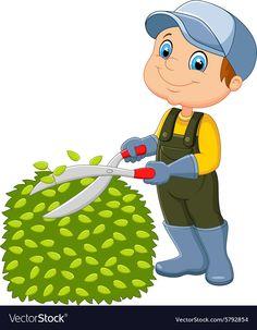 Cartoon the man cutting grass ,