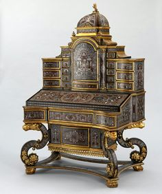 Louis XIV Boulle Writing Cabinet by Linke Circa 1880.