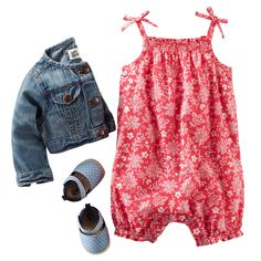 The sweetest floral bandana print pairs up with polka dots and denim for a charming Memorial Day style.
