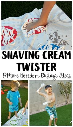 Need summer boredom buster ideas? Play Shaving Cream Twister! This DIY Backyard Game is easy to set up and brings so many giggles! #LetsPlay #ad