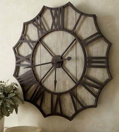 X Large French Country Wheel Round Gallery Wall Clock 40 Wood Metal Oversized
