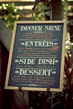 chalkboard menu - different colors